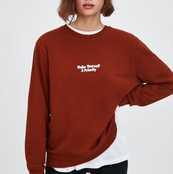 dd8bc7c55 Zara Tops | Guc Rust Make Yourself A Priority Sweatshirt | Poshmark